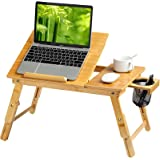 HUANUO Lap Desk- Fits up to 15.6 Inch Laptop Desk, Foldable Bed Tray Breakfast Table with 5 Angles Tilting Top, Height Adjus