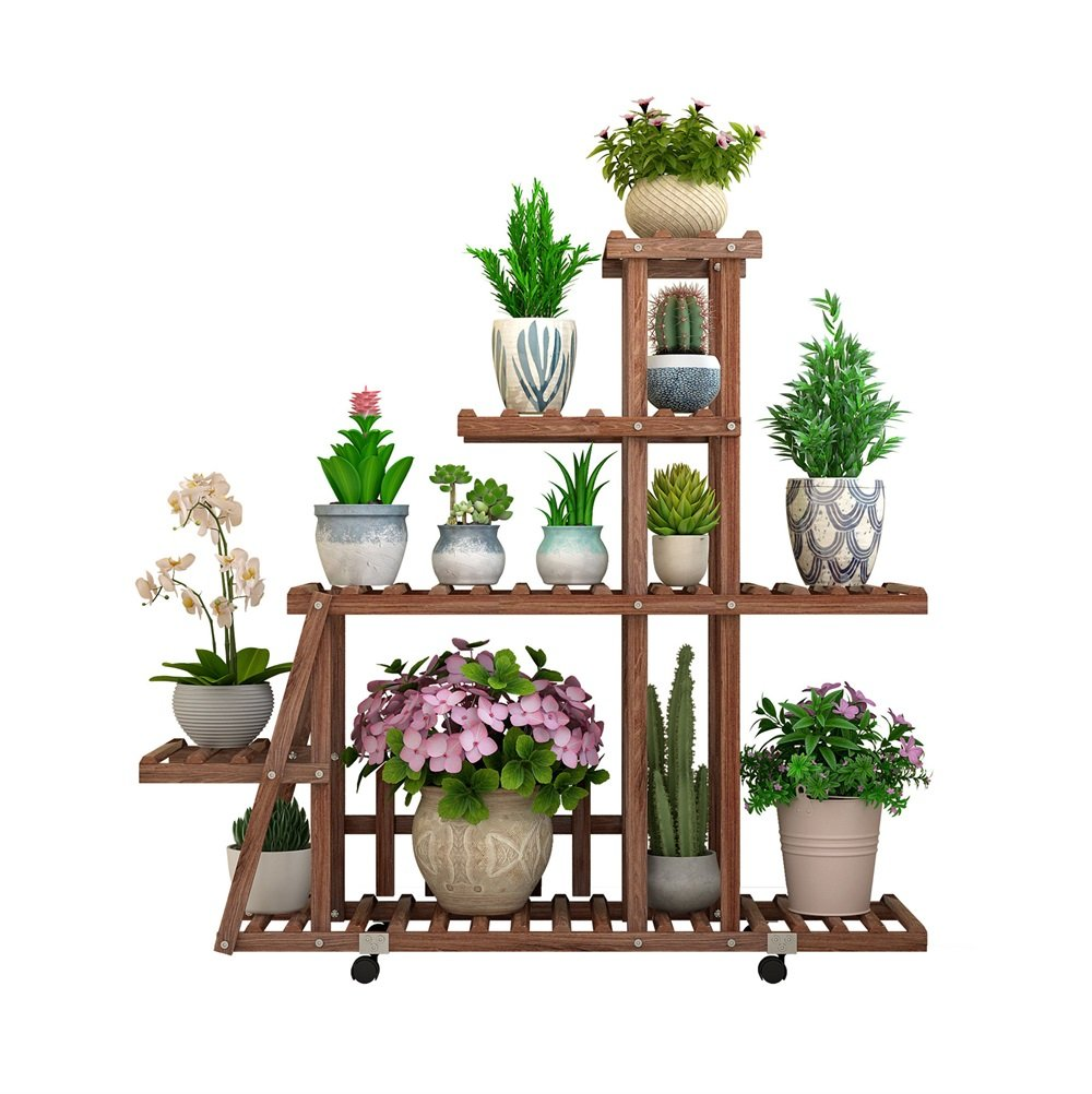 マルチティアソリッドウッド腐食防止大型フラワーラック/サラダ棚屋外ガーデンまたは室内リビングルームのベッドルームバルコニーと庭のディスプレイシェルフ - L98×W25×H88CM 植物スタンド (色 : #3) B07JYXRQRB #3 #3