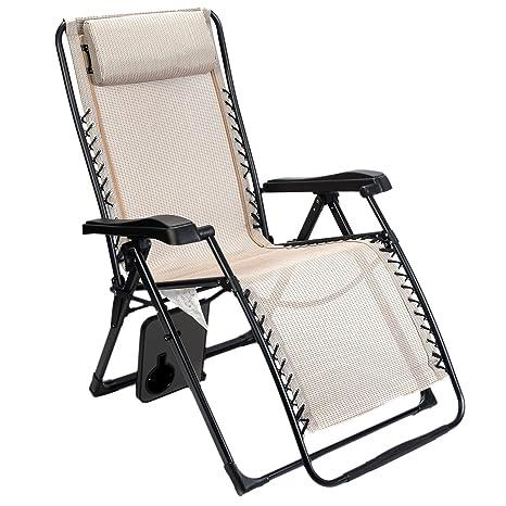 Madera Ridge grande XL ajustable de gravedad cero reclinable salón Patio silla con mesa auxiliar soporta