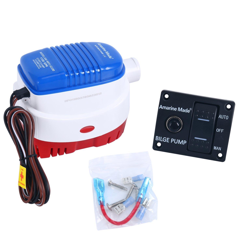 Amazon.com : Amarine-made 12v 1100gph Automatic Submersible Boat Bilge Water  Pump and Auto/Off/Man LED Rocker Bilge Pump Switch Panel & Circuit Breaker  ...