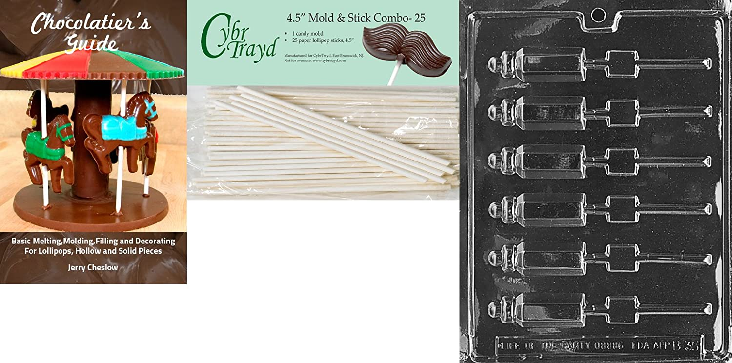 Cybrtrayd Small Baby Bottle Lolly Baby Chocolate Candy Mold with 25 4.5-Inch Lollipop Sticks and Chocolatiers Guide