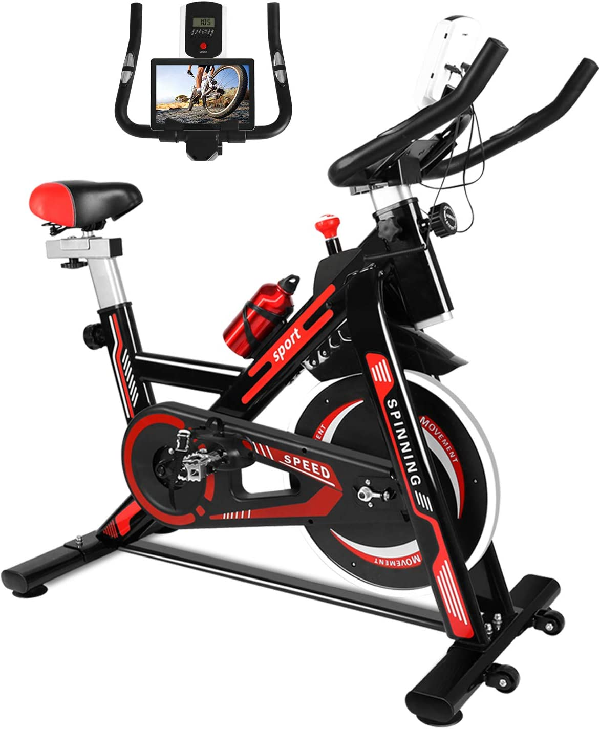 naspaluro Exercise Bikes, Fitness Exercise Equipment Indoor Cycling Bike, Stationary Infinite Resistance Spin Bike with Phone Holder/Heart Moniter/LCD Monitor/Smooth Belt Drive/Soft Seat