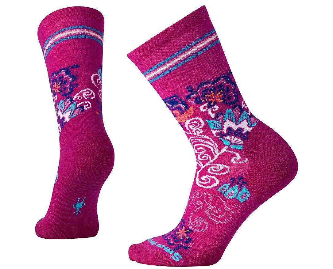 Smartwool Women's Blooming Botanicals Crew Socks (Berry) Medium
