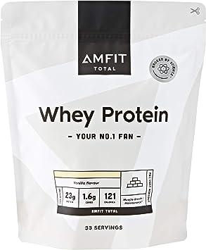 Marca Amazon - Amfit Nutrition Proteína de Suero de Leche en Polvo 1kg - Vainilla (anteriormente PBN)