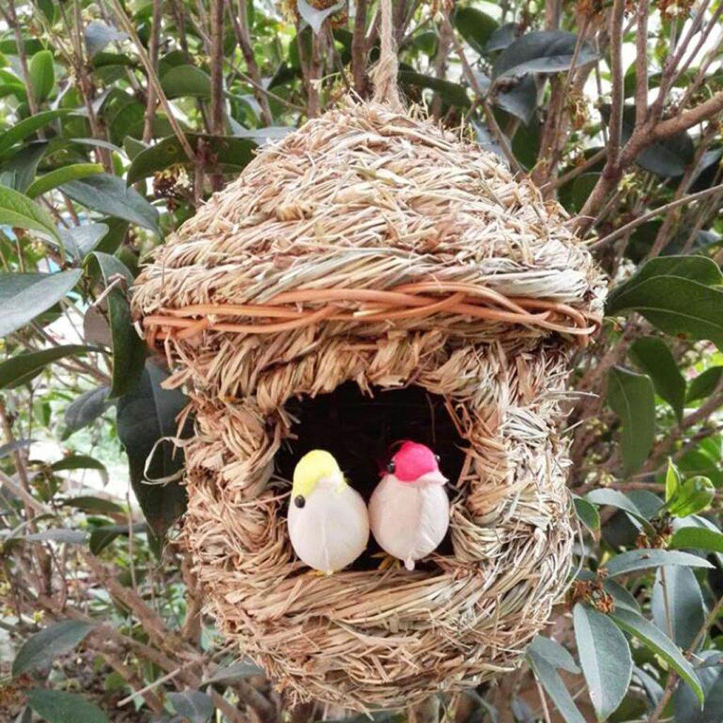 E Grass House S LOVIVER Casa de Aves P/ájaro de Paja Tejida a Mano Que Empolla Cueva de Hierba de Cr/ía para Decoraci/ón de Jard/ín Terraza o Balc/ón