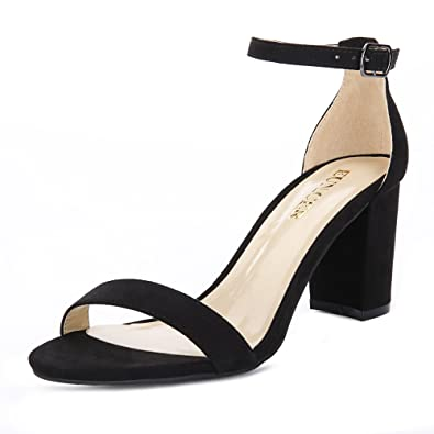 35b5783520c Eunicer Women s Single Band Classic Chunky Block High Heel Sandals with Ankle  Strap Dress Shoes (