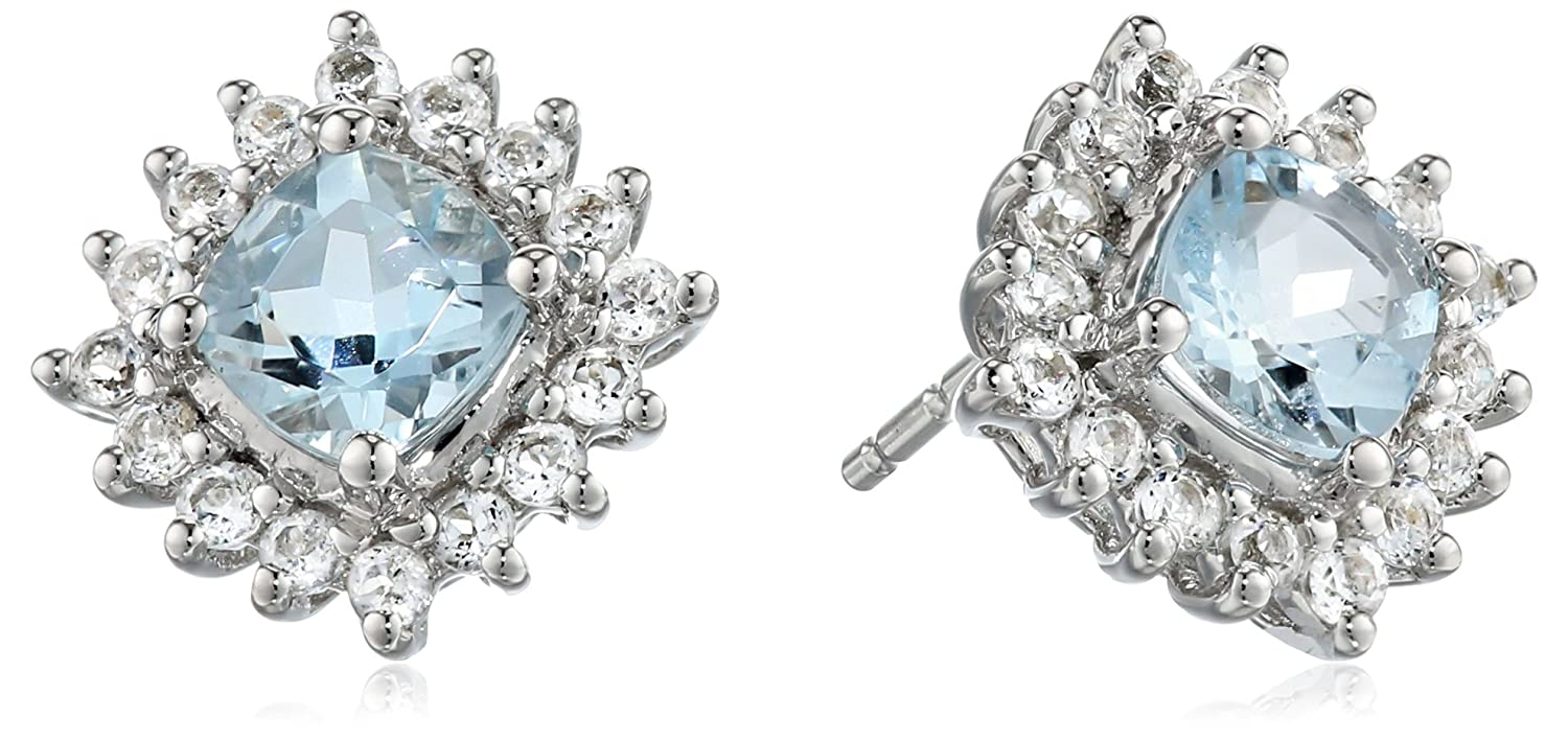 14k White Gold, Aquamarine, and White Topaz Stud Earrings