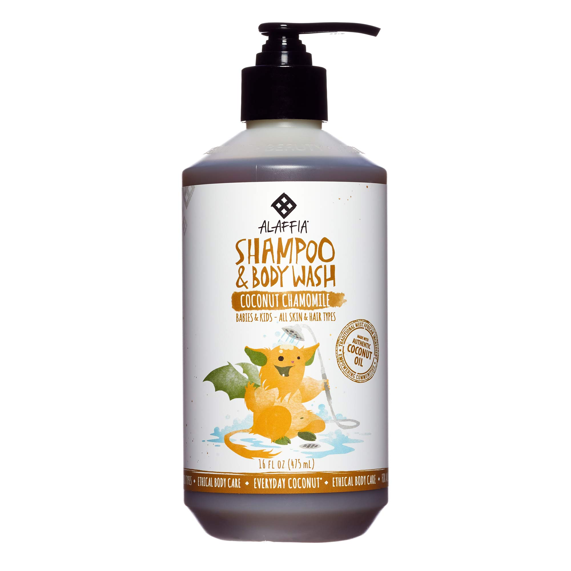 Alaffia - Everyday Coconut Shampoo and Body Wash, Babies and Kids, Gentle and Non-Irritating Support for Soft Hair and Skin with Yarrow and Chamomile, Fair Trade, Coconut Chamomile, 16 Ounces