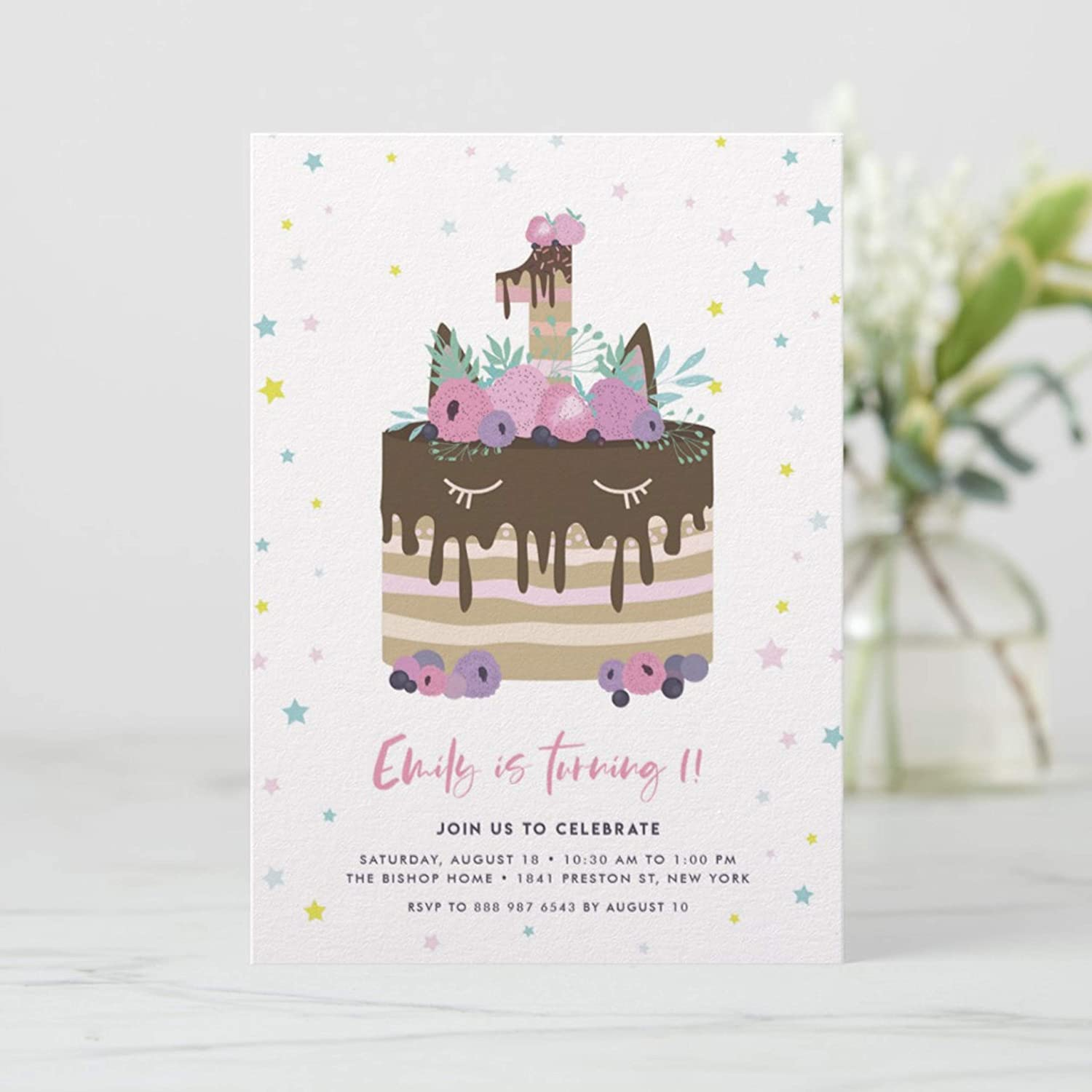 Amazon Dozili Kids Birthday Party Invitation Unicorn Drip Cake First Editable St Home Kitchen