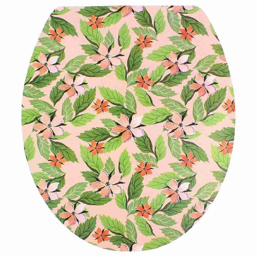 Move&Moving(TM) Flower Leaves Pattern Adhesive Removable Sticker Decal for Toilet Lid Shell