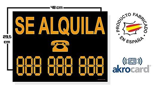 akrocard Cartel Resistente PVC - SE ALQUILA Personalizable - Señaletica de Aviso - Ideal para Colgar