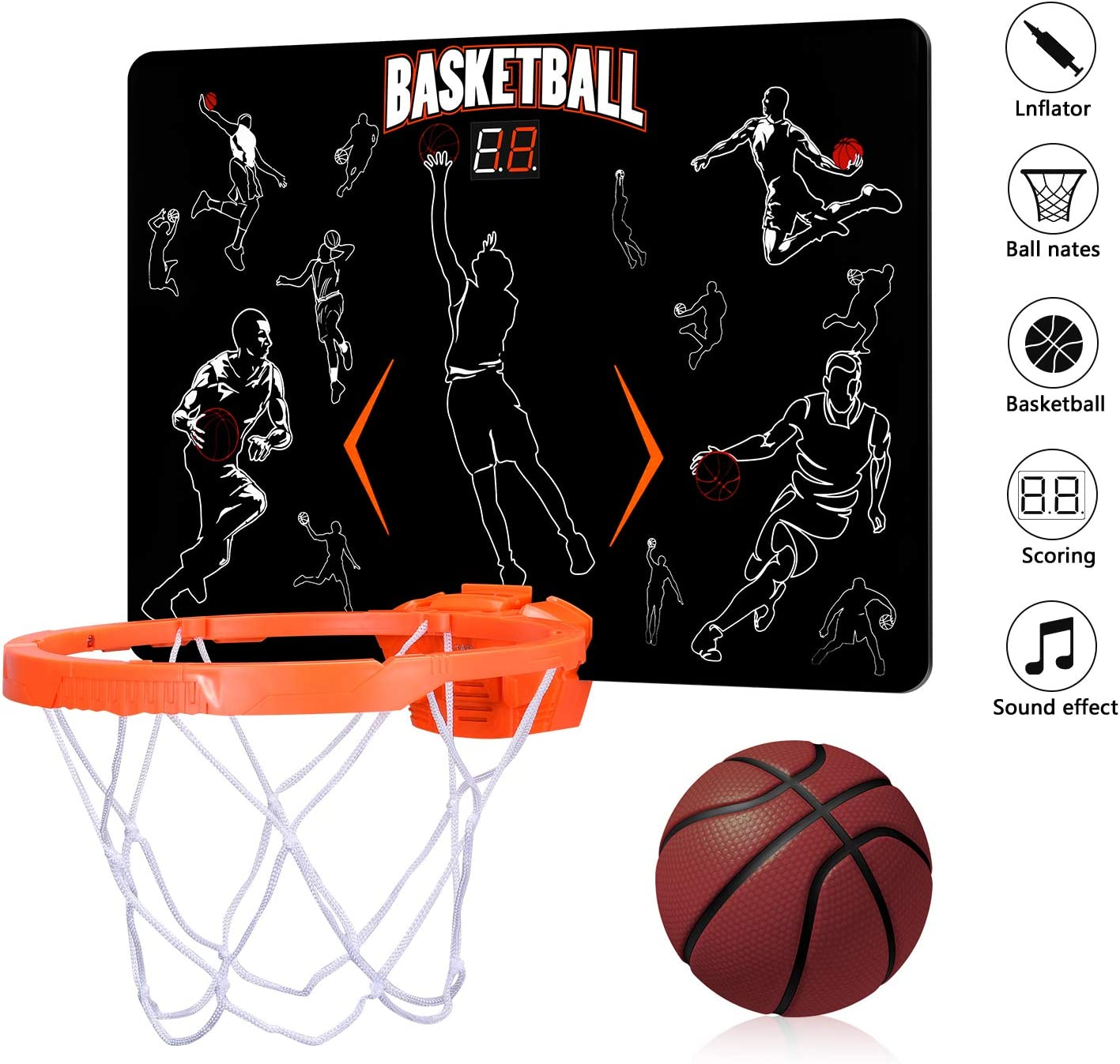 ZHIMO Mini Electronic Auto Scoreboard Basketball Hoop Indoor Basketball Hoop Set- Ideal Basketball Toy Gifts for Kids Boys Teens
