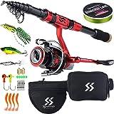 Sougayilang Portable Telescopic Fishing Rod Reel Combos Carbon Fiber Spinning Fishing ploe and Spinning Reel, Car…