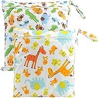 "Ayliss Pack of 2 Baby Diaper Wet Dry Bag Waterproof Bag,Environmental Reusable Nappy Organizer Bag (11.8""*11"", Lion and Giraffe)"