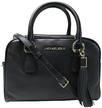 amazon com michael kors bedford medium tassel leather satchel black rh amazon com