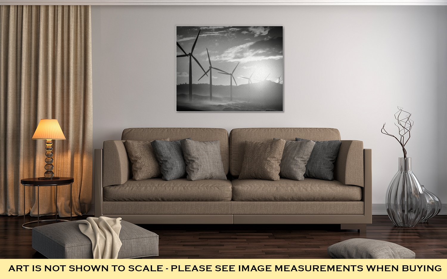 Ashley Canvas Wind Turbine Power Generators Silhouettes At Ocean Coastline At Sunset, Kitchen Bedroom Living Room Art, Black/White 24x30, AG5858548