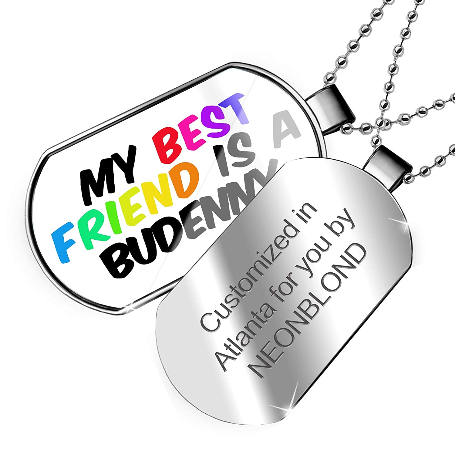 Horse Dogtag Necklace NEONBLOND Personalized Name Engraved My Best Friend a Budenny