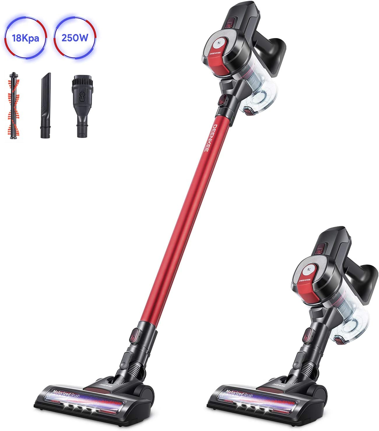 DEENKEE Cordless Vacuum DS100, 6 in 1 Handheld Stick Vacuum Cleaner 18KPa 250W Powerful Cleaning Lightweight Vacuum for Home Hard Floor Carpet Car Pet