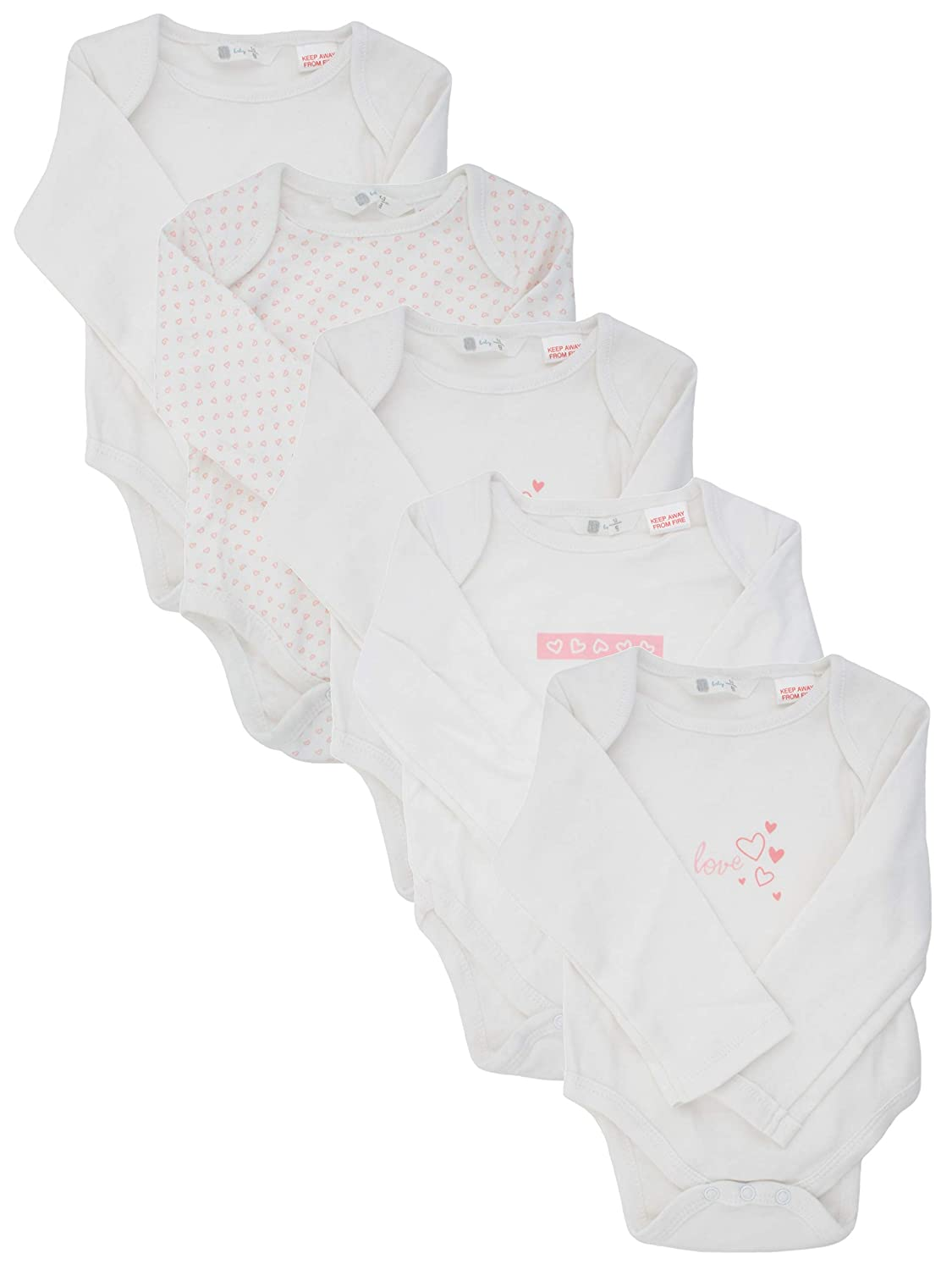 Ex-Store 5 Pack of Baby Long Sleeved Bodysuits