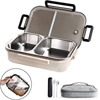 WORTHBUY Bento Lunch Box for Kids, 2 Compartments Stainless Steel Square Lunch Box with Portable Cutlery, Portion Control Food Storage Container Leakproof, BPA Free(33oz)