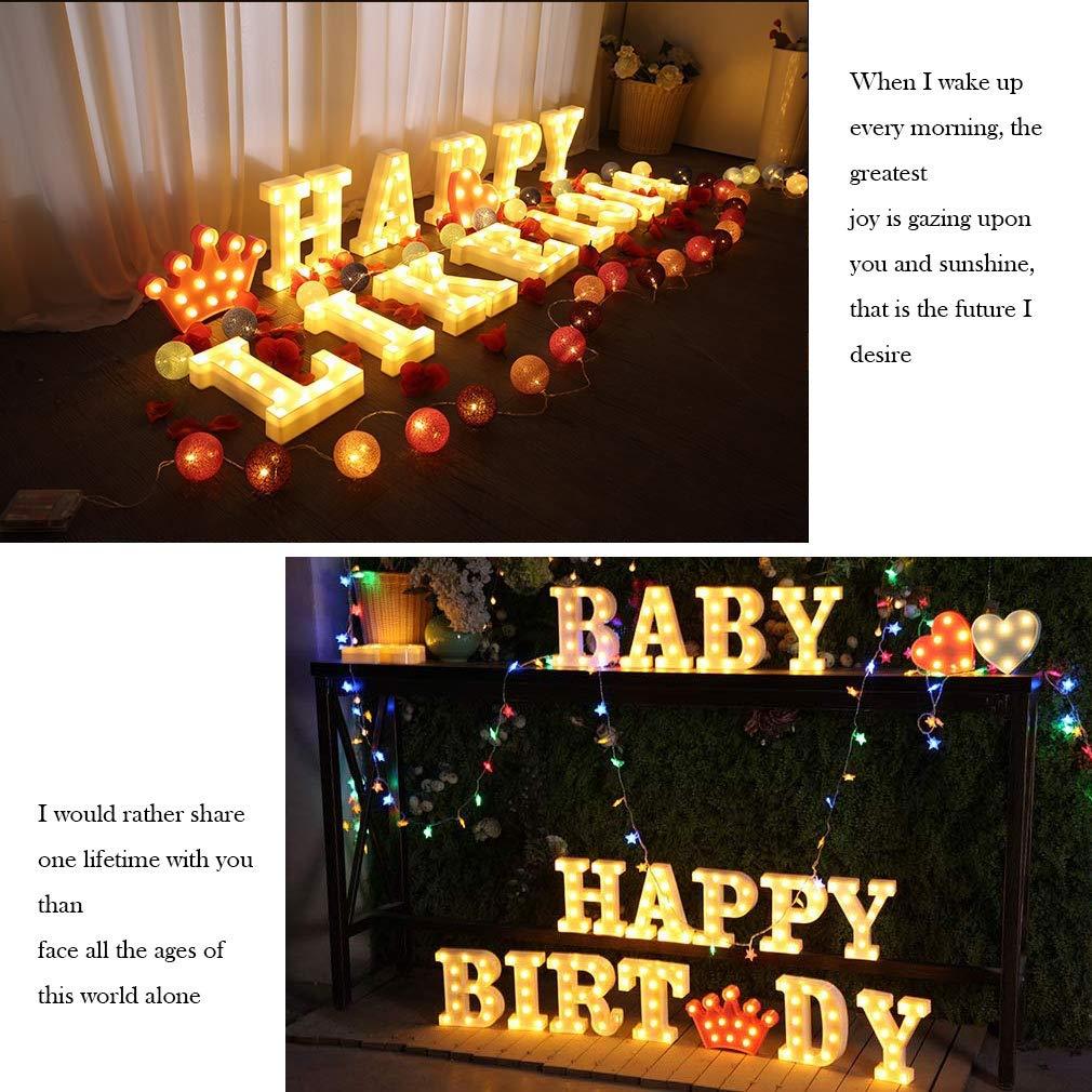 LED Buchstabe Lichter Alphabet LED Brief Licht Alphabet Zeichen mit drahtloser Timer Fernbedienung Dimmable Led dekoration f/ür Geburtstag Party Hochzeit /& Urlaub Haus Bar (WHATOOK) F