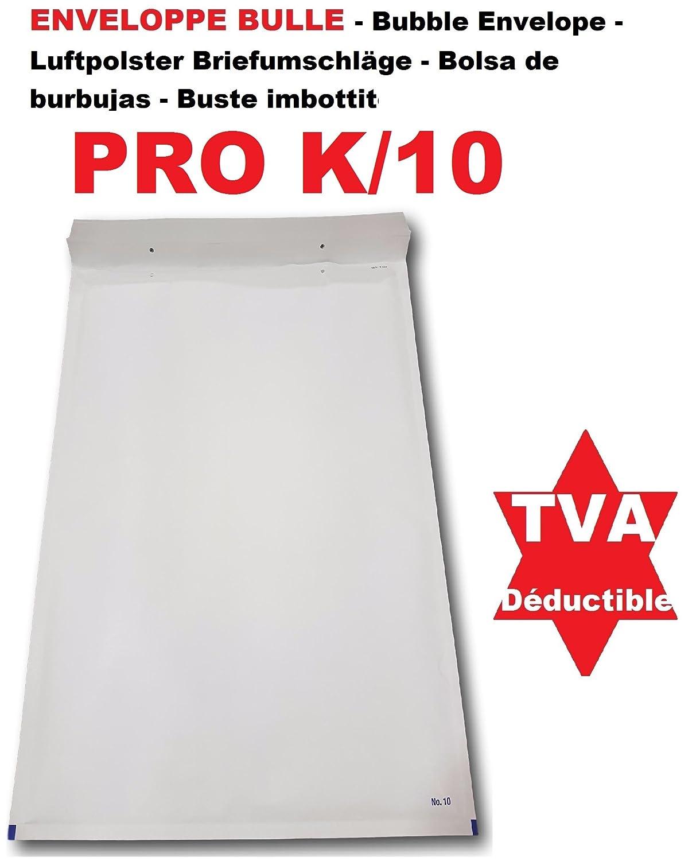 10 buste a bolle bianca Pro K/10 370 x 480 mm (Dimensione tasca interna) tipo K10 Busta trapuntato bianco 370 x 480 + 50 mm ideale come tasca protezione per invio di oggetto grande formato A3 (indumenti