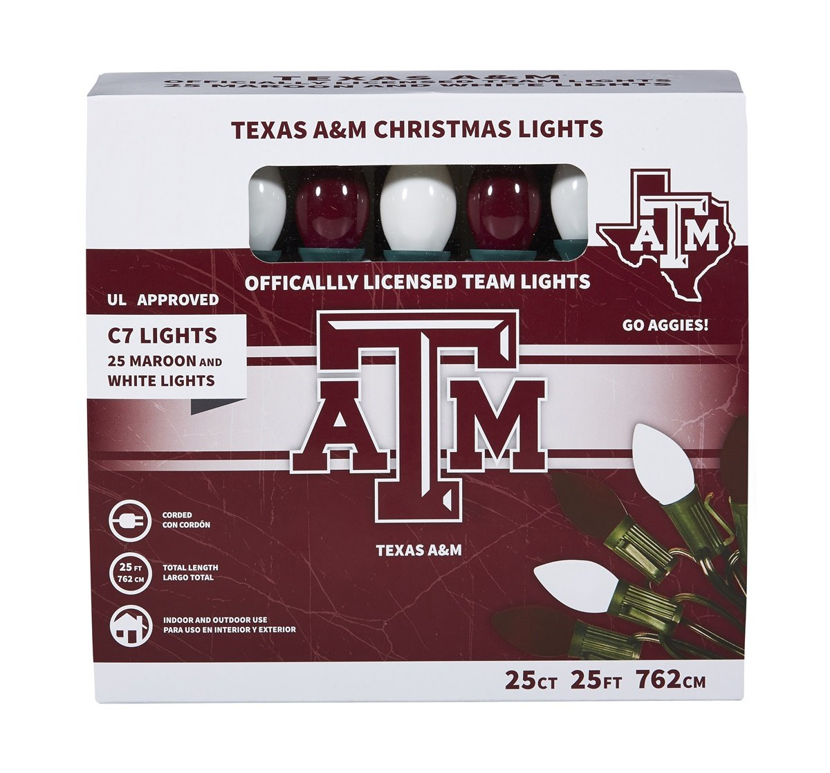 Let's Light it Up Texas A&M Maroon and White Decorative Lights, 25 Count by Let's Light it Up (Image #1)