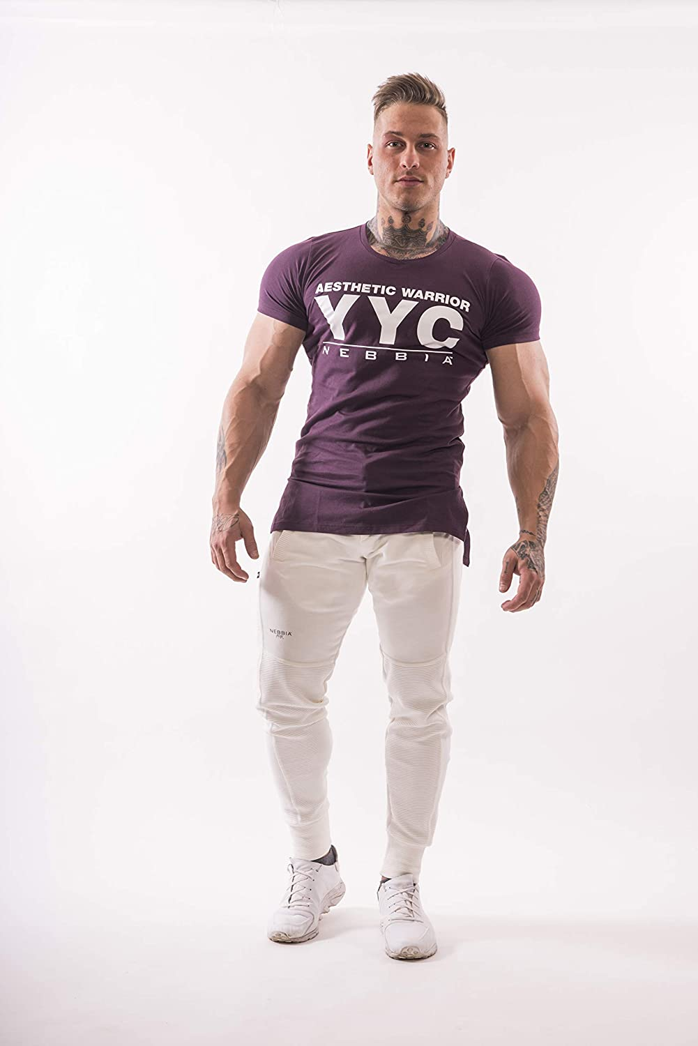 Sizes M Modern Extended Cut XXL Athletic Logo T-Shirt,Slim fit V Neck 3 Colors NEBBIA highlighting Figure Nice to Touch