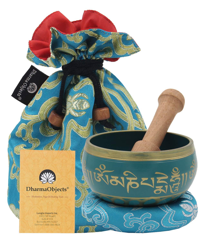 DharmaObjects ~ Tibetan OM MANI Singing Bowl Set ~ With Mallet, Brocade Cushion & Carry Bag ~ For Meditation, Chakra Healing, Prayer, Yoga (Turquoise)