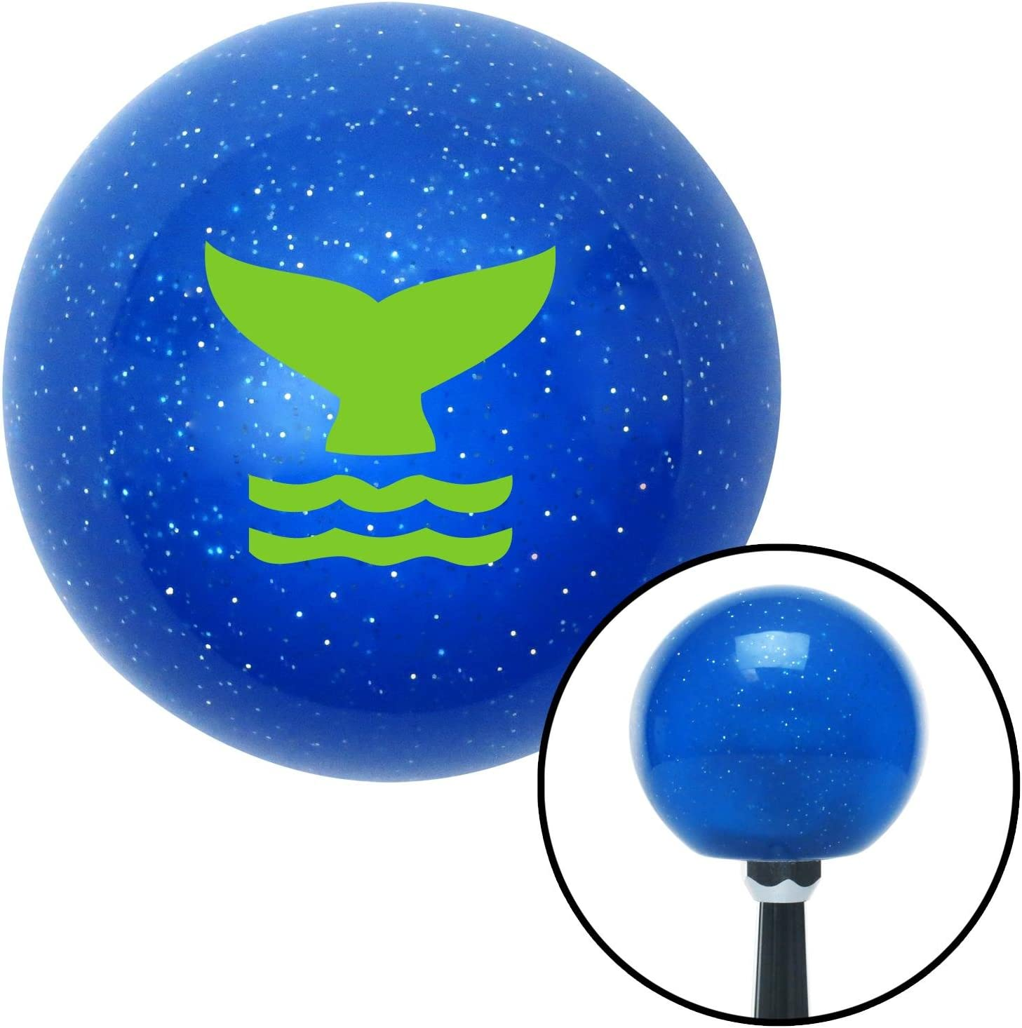 American Shifter 22246 Blue Metal Flake Shift Knob Green Whale Tail