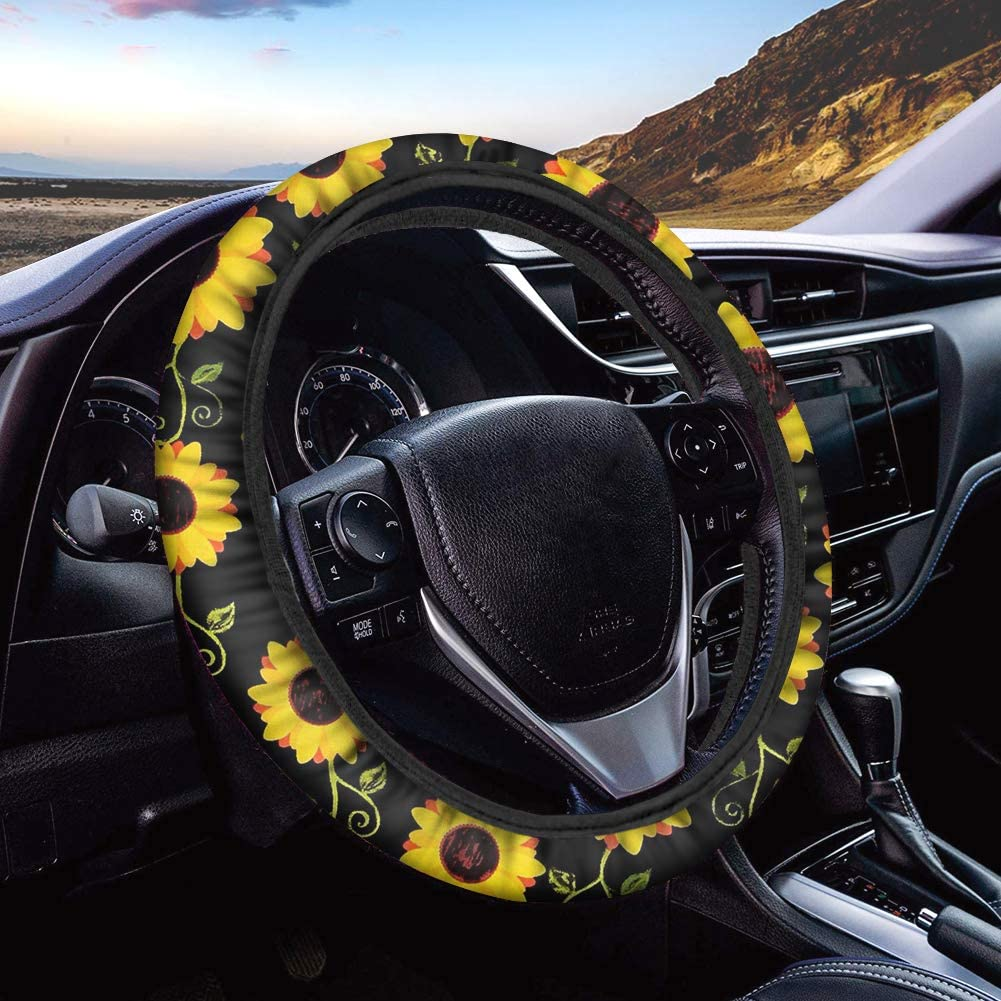 Print Steering Wheel Cover for Women Stretch-on Fabric Steering Wheel Cover Universal Fit Cars SUV Truck FUIBENG Aztec Tribal Horse Navajo Red