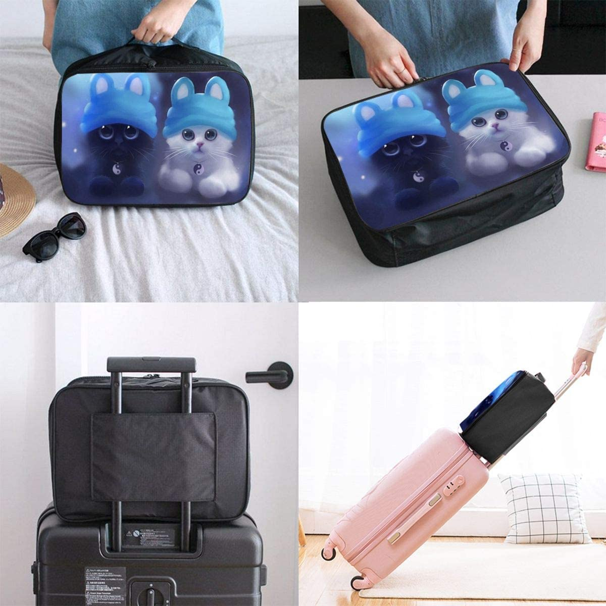Cute Cats With Hats Travel Carry-on Luggage Weekender Bag Overnight Tote Flight Duffel In Trolley Handle