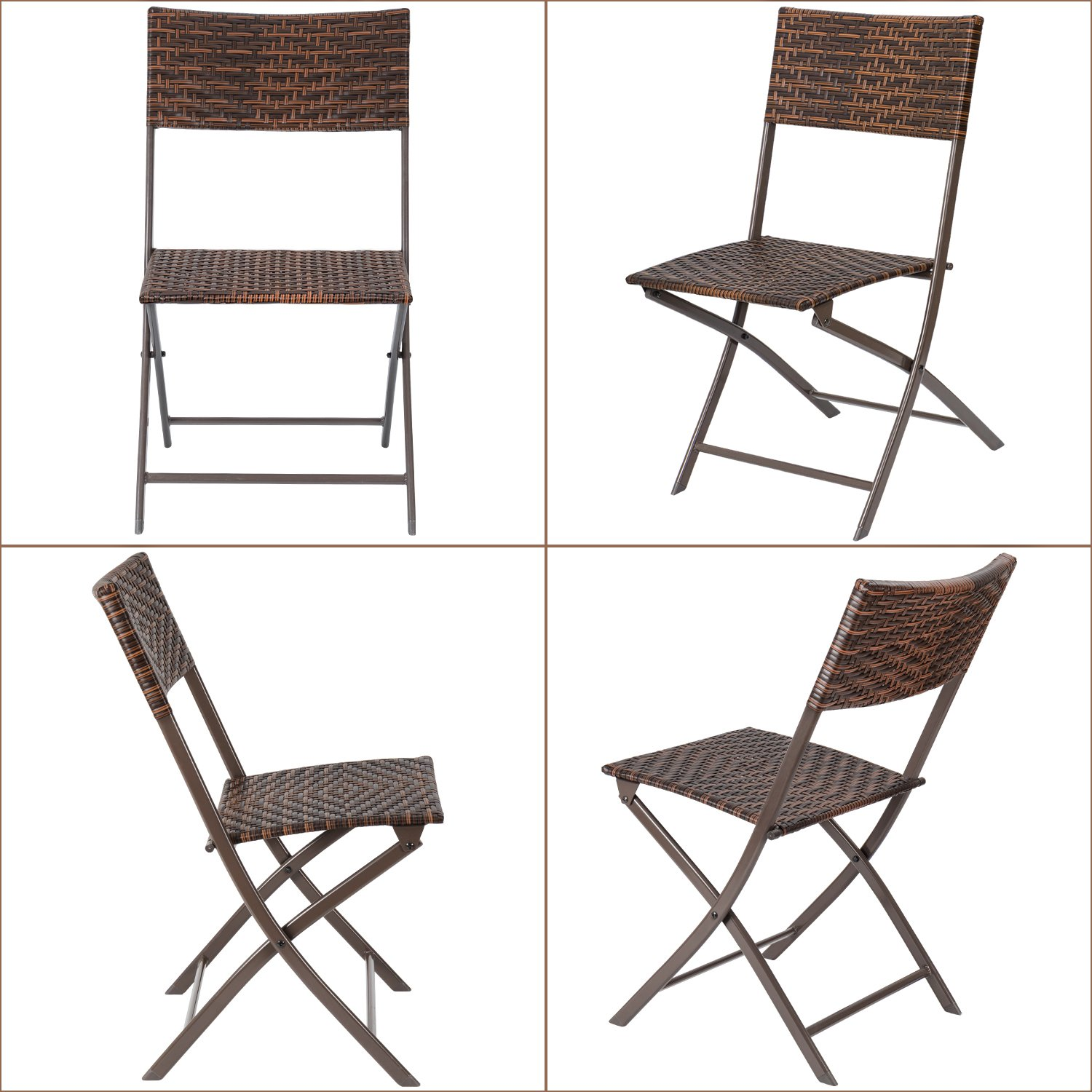 Flamaker Folding Patio Chairs PE Wicker Rattan Chair 4 Pieces Patio Furniture Set by Flamaker (Image #2)