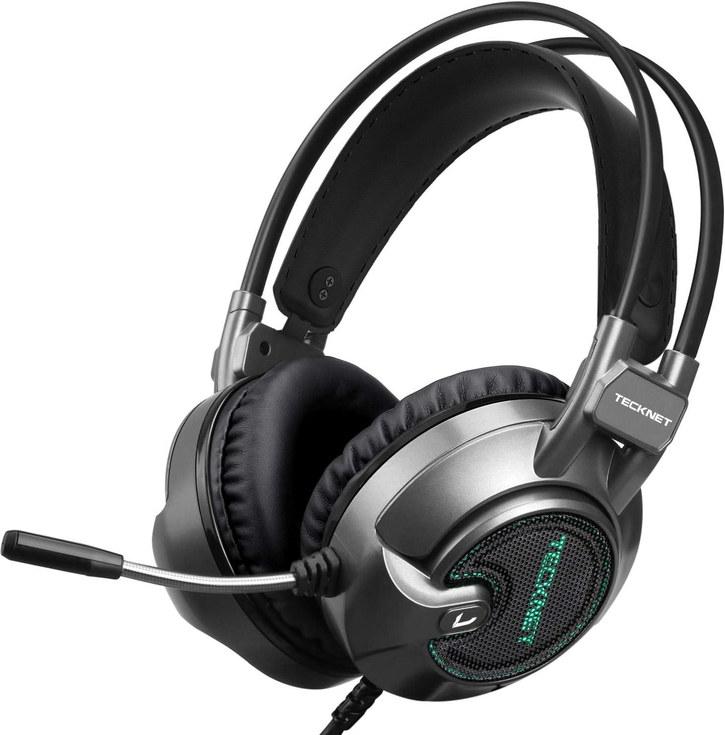 TECKNET Auriculares Gaming con Micrófono Cascos Gaming Sonido Envolvente Virtual 7.1, Reducción de Ruido Volumen Ajustable para Ordenador, Laptop