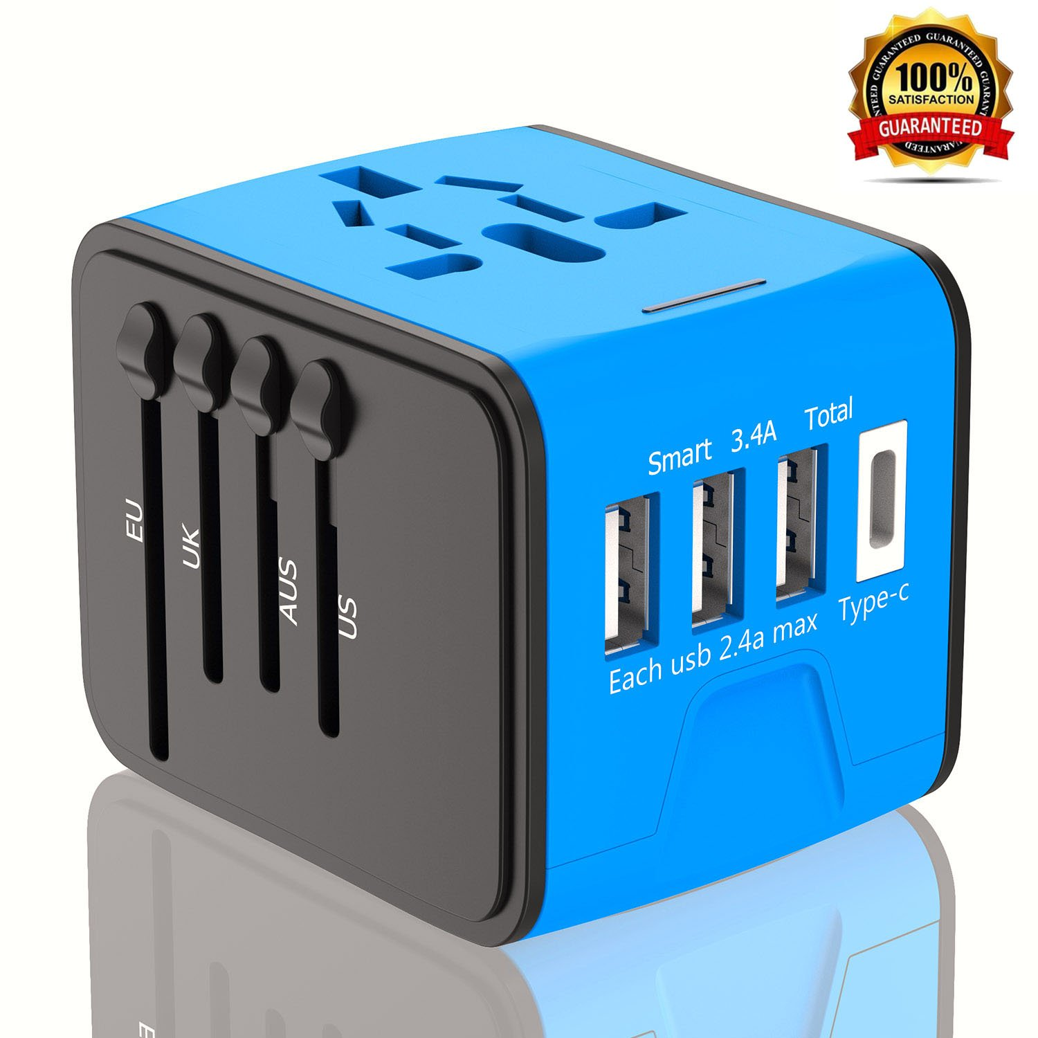 Travel Adapter, International Power Adapter With 3.4A 3 USB & Type C Charger, European Adapter, Universal Travel Adapter USB Wall Charger AC Outlet for Europe UK US AU & Asia