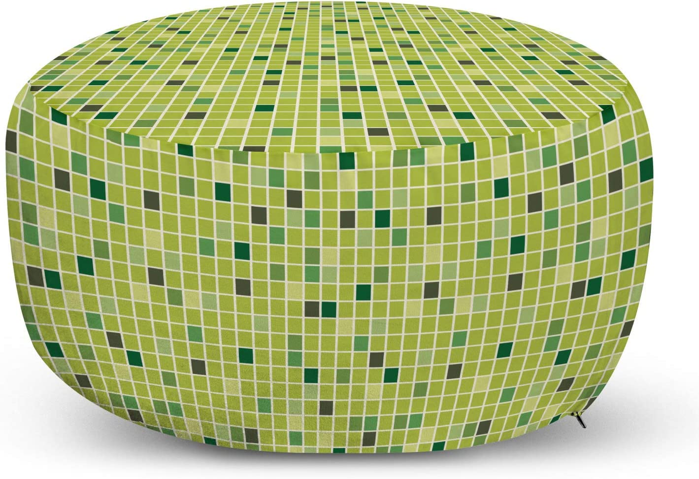 Lunarable Hunter Green Ottoman Pouf, Geometric Pattern of Mosaic Look Tiny Squares Tiles Greenery Art, Decorative Soft Foot Rest with Removable Cover Living Room and Bedroom, Apple Green