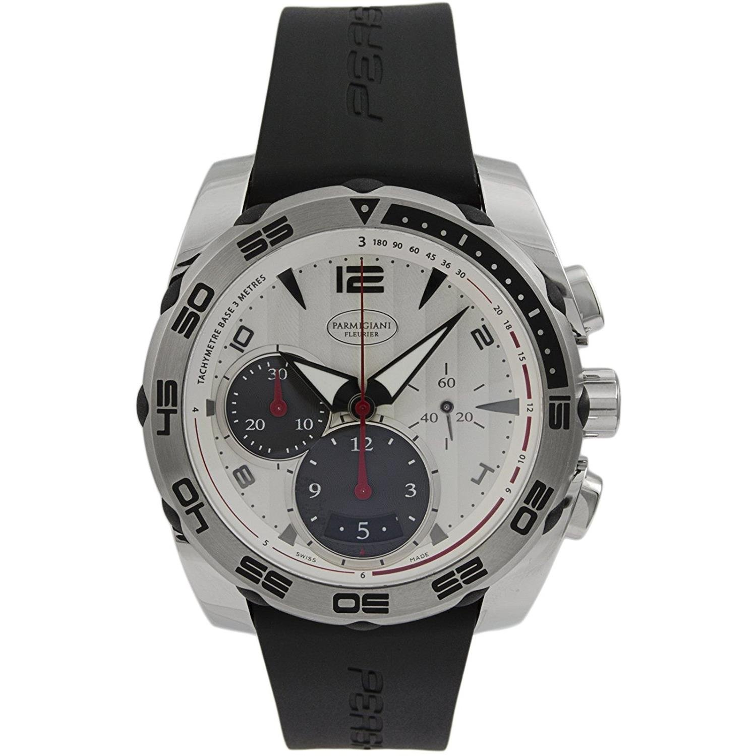 Parmigiani Fleurier Pershing 002 Mens Automatic Chronograph Watch - 42mm Analog Silver Face with Second Hand, Date, Chrono and Tachymeter Scale - Black Rubber Band Swiss Made Waterproof Watch for Men