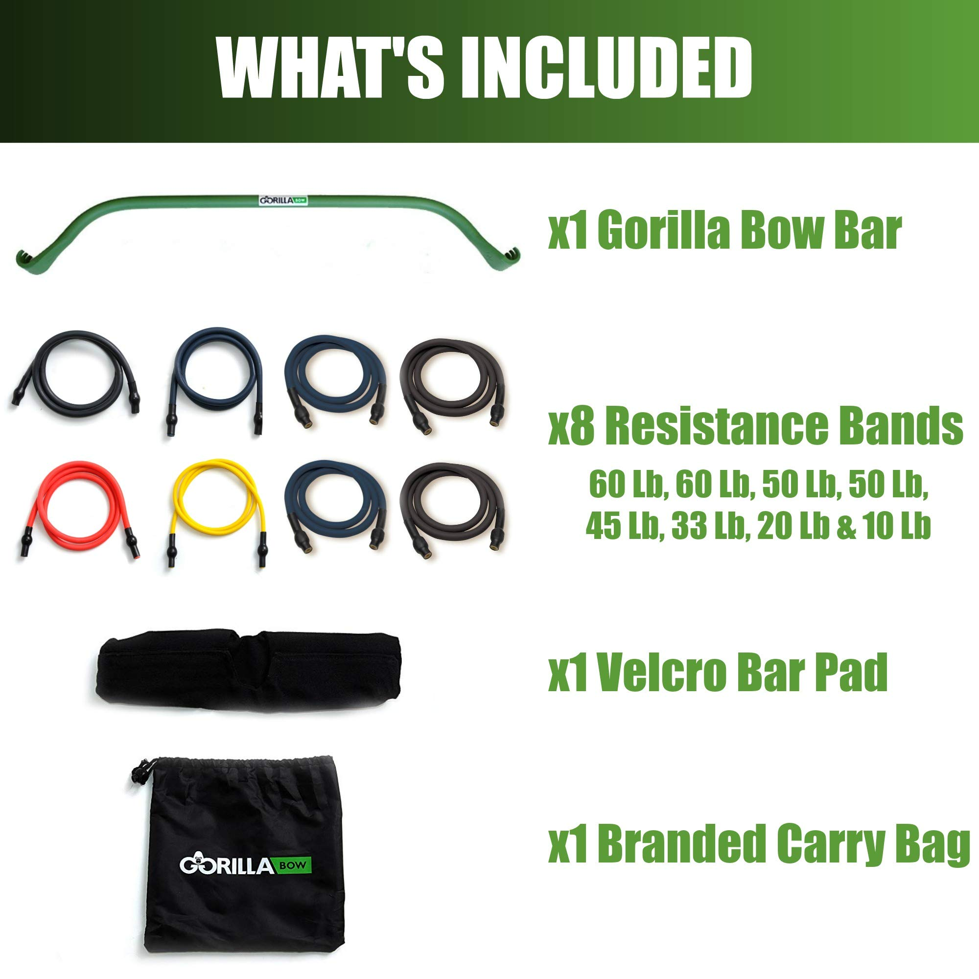 Gorilla Bow Portable Home Gym Resistance Band System | Weightlifting & HIIT Interval Training Kit | Full Body Workout Equipment (Heavy Green) by Gorilla Fitness (Image #2)