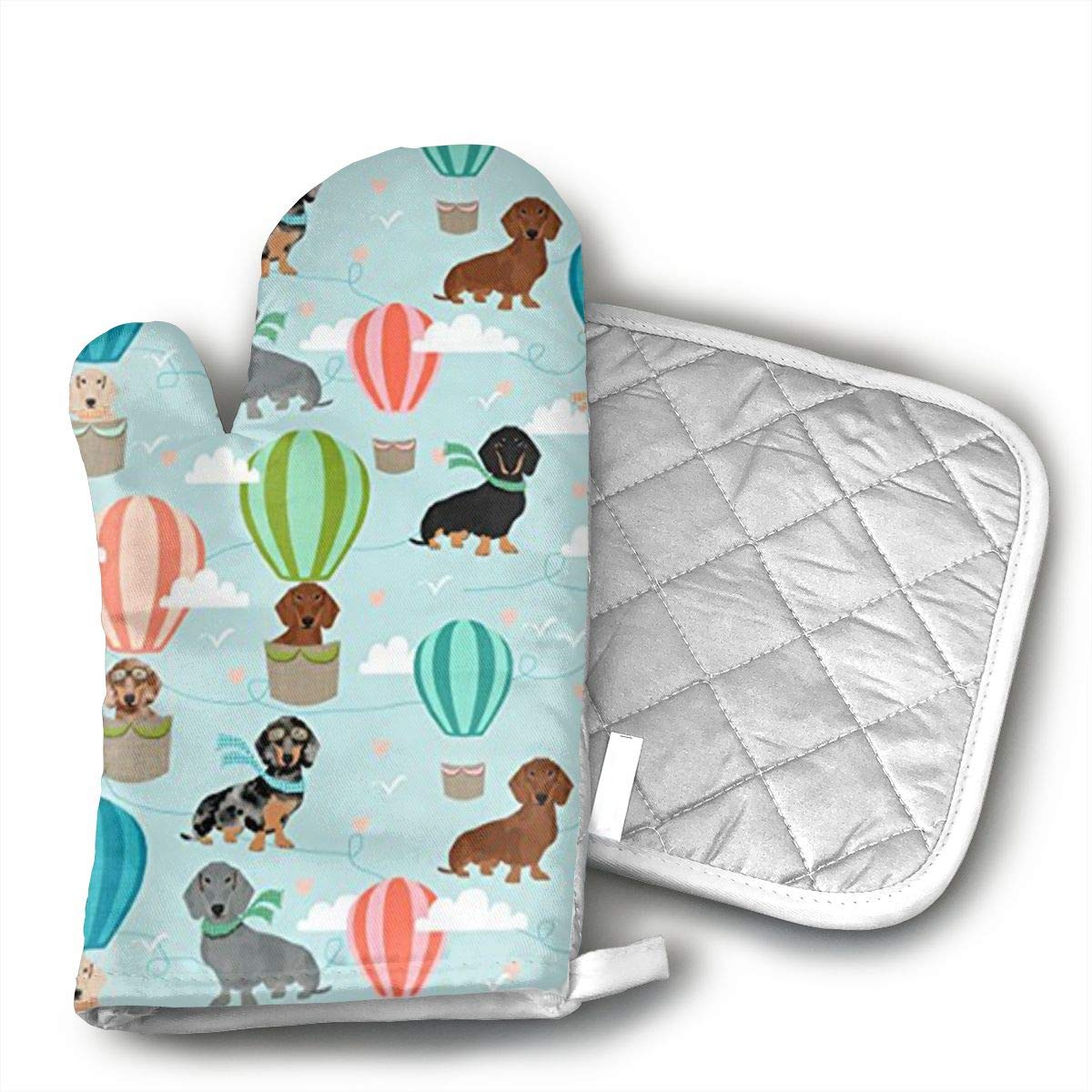 dgf Dachshund Hot Air Balloon Set of Oven Mitt and Pot Holder or Oven Gloves-528% Cotton, High Heat Resistance, Machine Washable High heat resistant polyester filling for Thanks Giving, Christmas