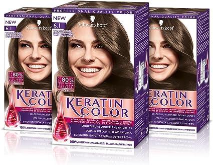 Keratin, Coloración Permanente para el Cabello, Tono 6.1 Rubio Oscuro Ceniza (pack de 3)
