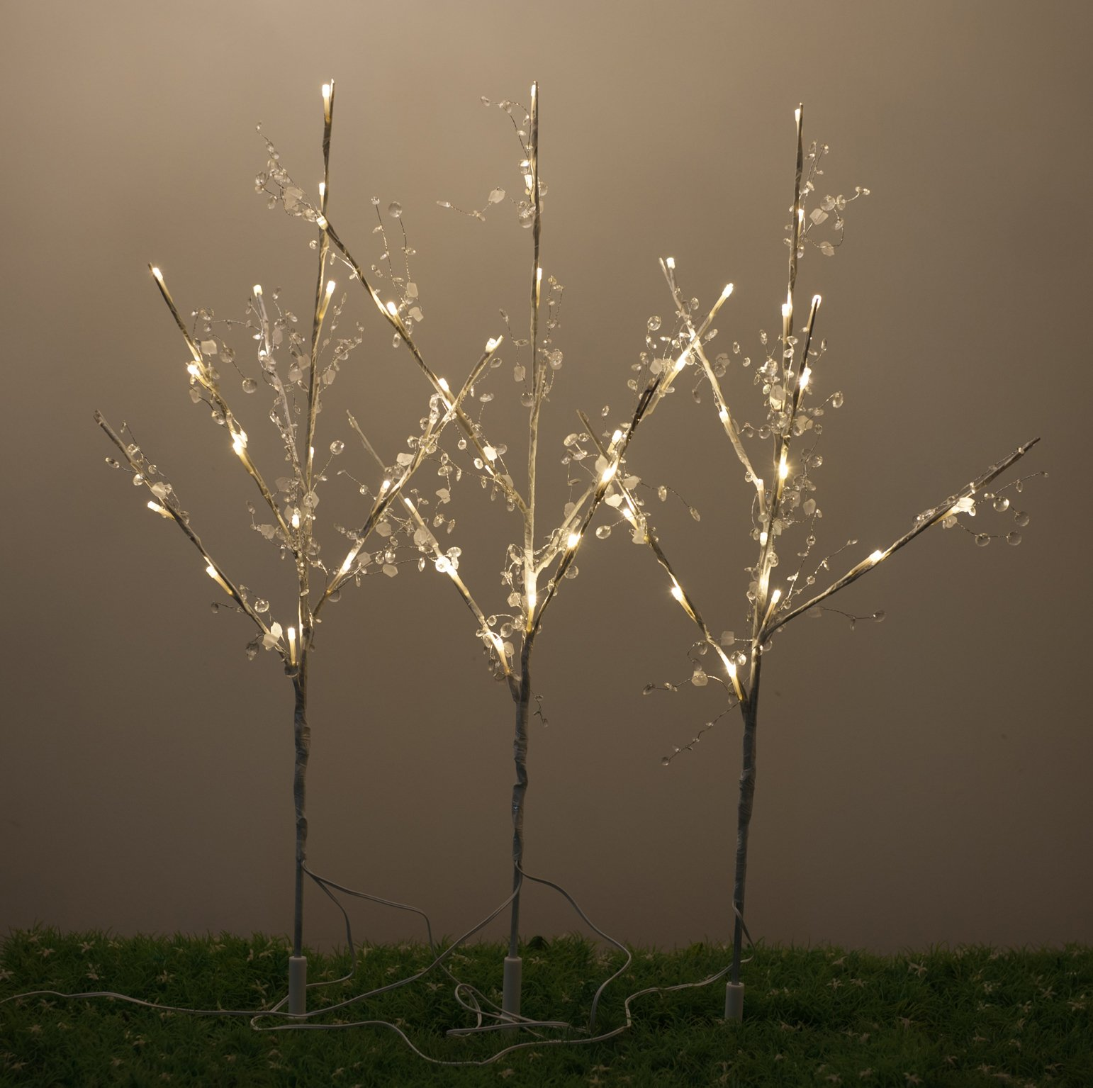 WED 26 Inch 60 Led White Wrapped Lighted Branch Stake, 3 Pack Set, White Light for Outdoor and Indoor Use