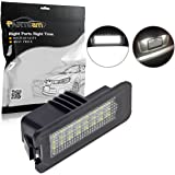Partsam 2pcs Xenon White License Plate LED Lights 24-3528-SMD Lamp Assembly for Volkswagen Golf GTi CC Rabbit Eos Beetle Phaeton Porsche Cayman Carrera Cayenne Boxster