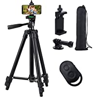 Phone Tripod, 51'' Extendable Lightweight Aluminum Phone Tripod Stand with Cell Phone Mount Holder & Bluetooth Remote…