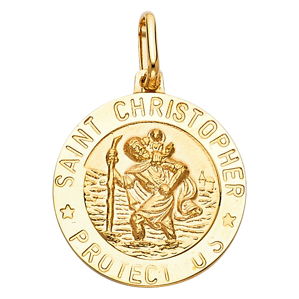 14K Yellow Gold St Christopher Protect Us Charm Pendant with 1.2mm Singapore Chain Necklace