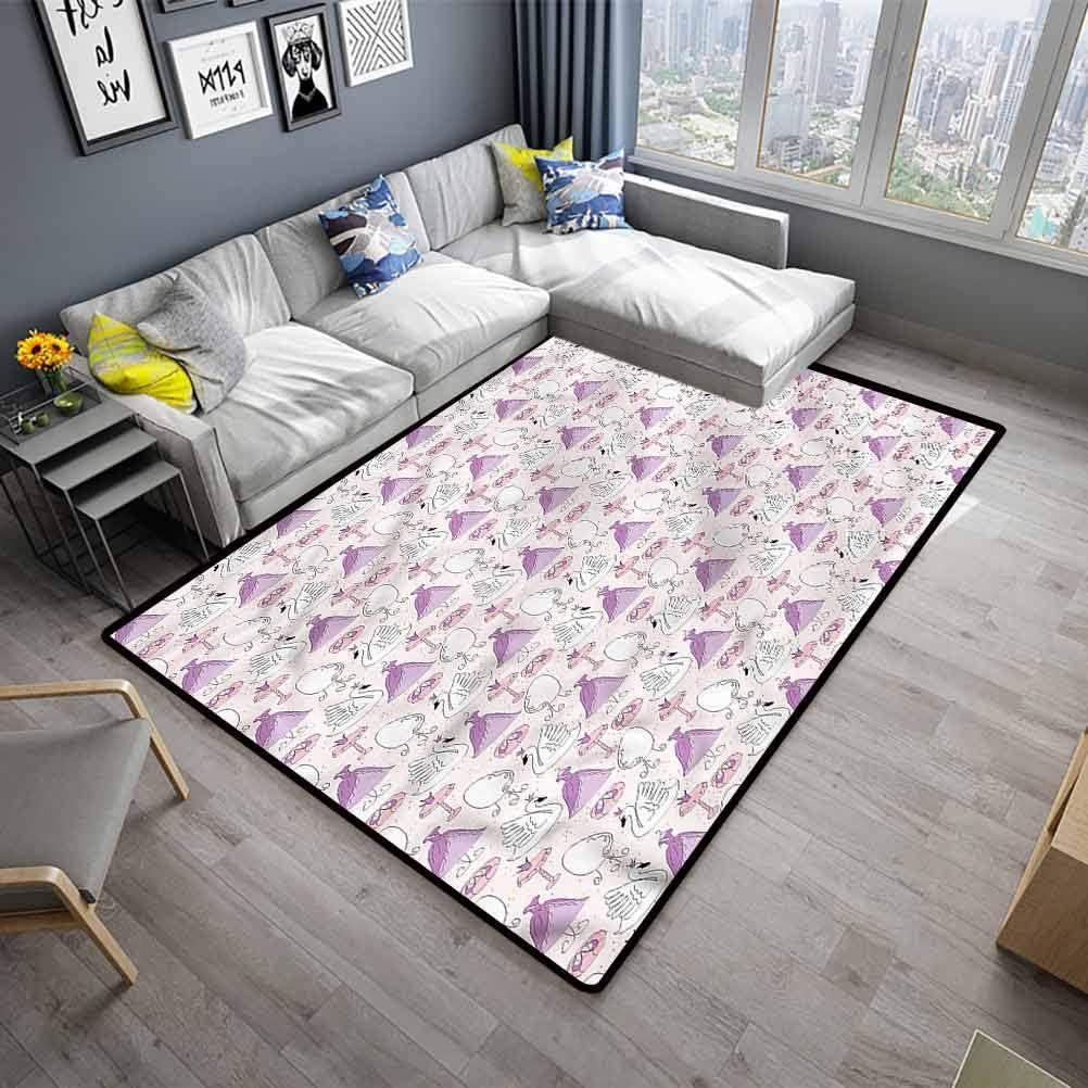 Swan-Living-Room-Non-Slip-Machine-Washable-Rugs