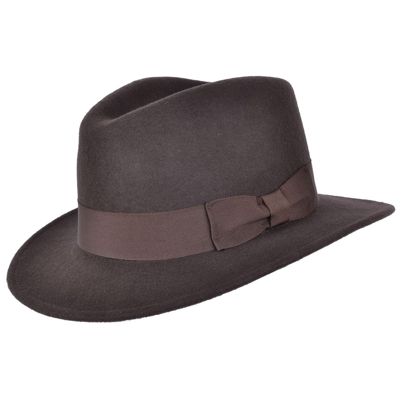 Brown Felt Fedora Crushable 100% Wool Cowboy Hat Indiana (59cm L Large 59 cm)