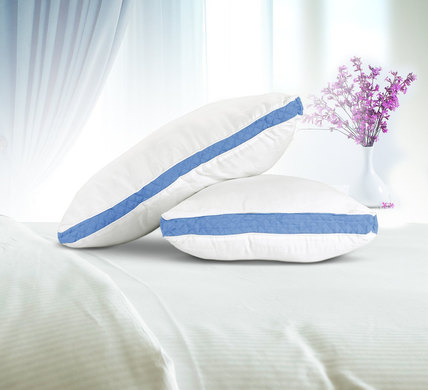 Hypo Allergenic and Easy Care - Premium Quality Bed Pillows For Side and Back Sleepers With Blue Gusset by Utopia Bedding