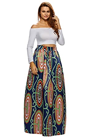 1b181eaa286 Amazon.com  UBetterM Women African Floral Print Casual pleated Maxi Skirt   Clothing