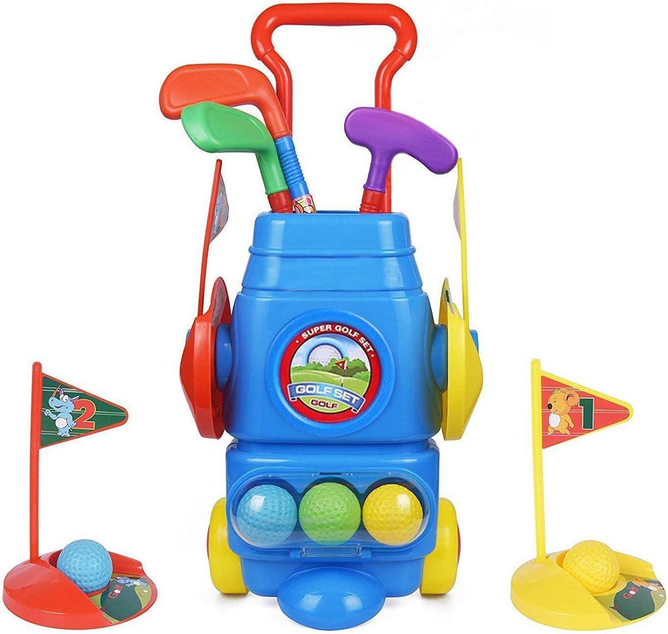 ToyVelt Kids Golf Club Set – Golf CartWith Wheels, 3 Colorful Golf Sticks, 3 Balls & 2 Practice Holes