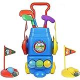 Toyvelt Kids Golf Club Set – Golf CartWith Wheels, 3 Colorful Golf Sticks, 3 Balls & 2 Practice Holes – Fun Young Golfer…